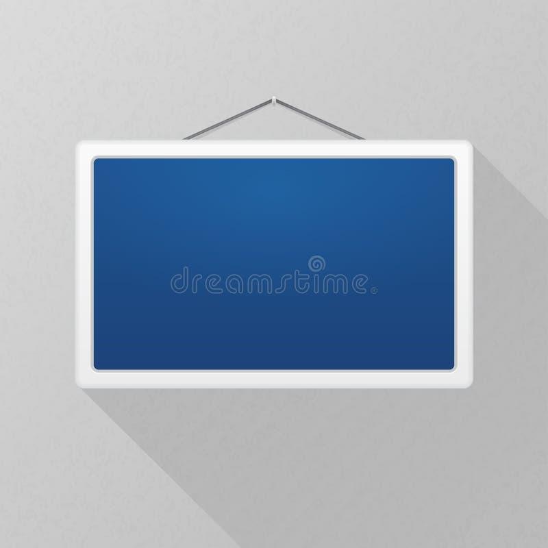 Vektormodell Enkelt blått tecken med lång skugga som hänger på en grå kontorsvägg Vit rektangulär ram blankt töm stock illustrationer