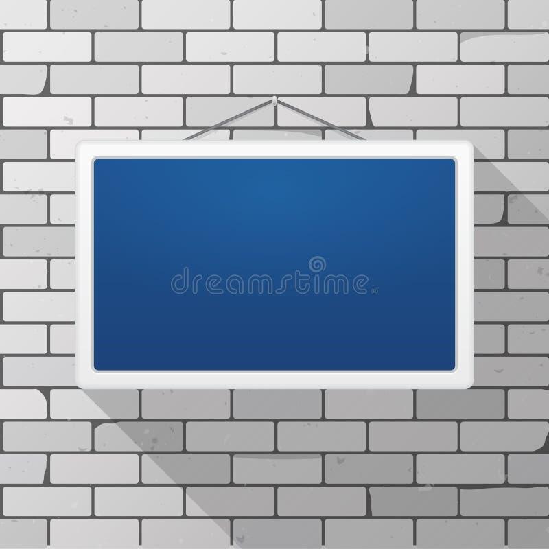 Vektormodell Enkelt blått tecken som hänger på en grå tegelstenvägg Vit rektangulär ram vektor illustrationer