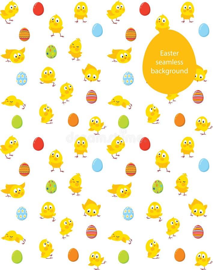Vektormodell, fågelungar och ägg för påsk sömlös royaltyfri illustrationer