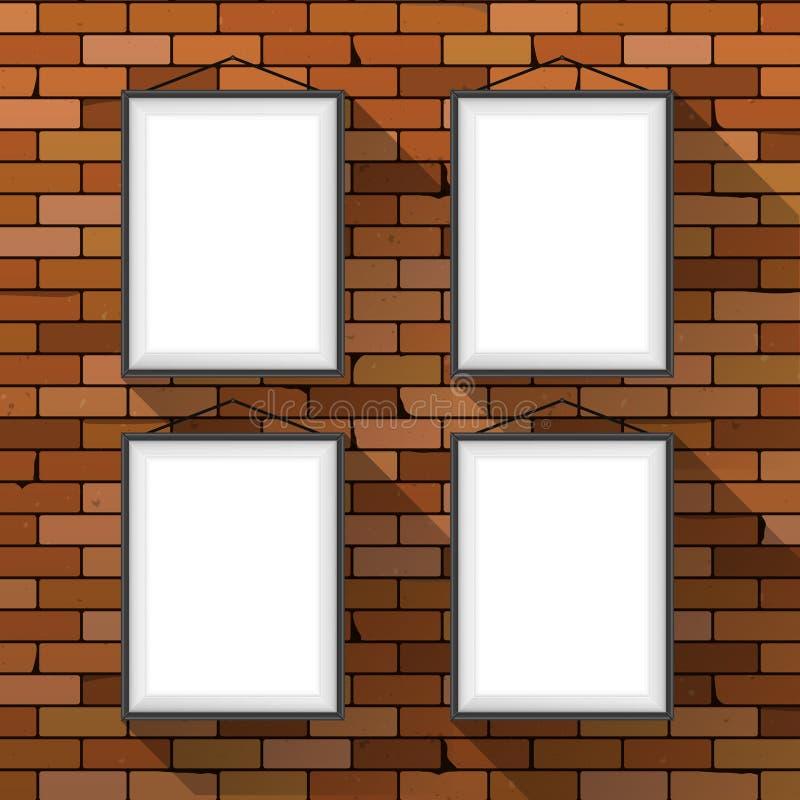 Vektormodell Fyra vita affischer med svarta ramar som hänger på ett mörker - mall för inre för affär för vägg för röd tegelsten i vektor illustrationer