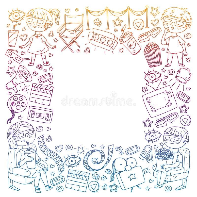 Vektormodell med biosymboler av filmbiografen, TV, popcorn, videogem H?lla ?gonen p? f?r dagis och f?r skolbarn vektor illustrationer