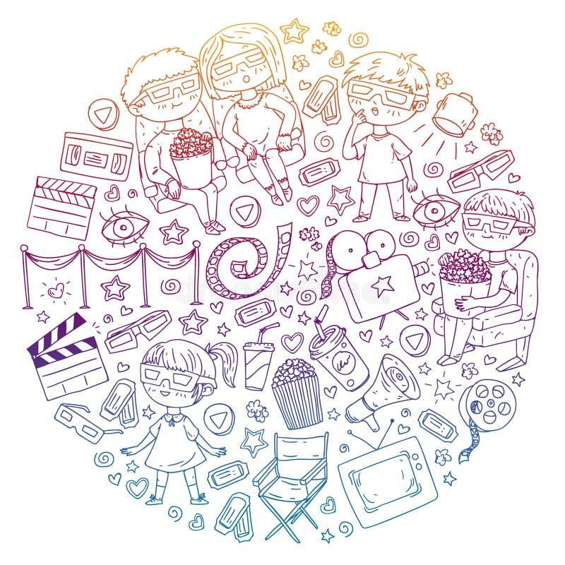 Vektormodell med biosymboler av filmbiografen, TV, popcorn, videogem H?lla ?gonen p? f?r dagis och f?r skolbarn royaltyfri illustrationer