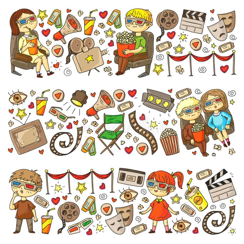 Vektormodell med biosymboler av filmbiografen, TV, popcorn, videogem H?lla ?gonen p? f?r dagis och f?r skolbarn stock illustrationer