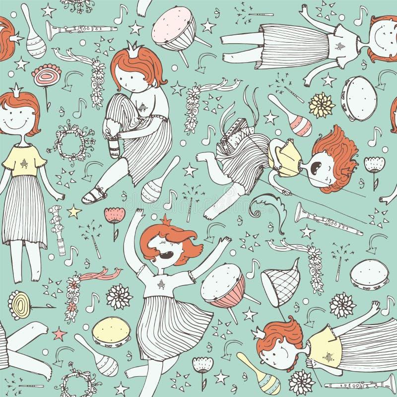 Vektormodell med den gulliga flickaprinsessan, musikinstrument blommor, anmärkning, stjärnor och hjärtor Färgrik illustration, dr vektor illustrationer