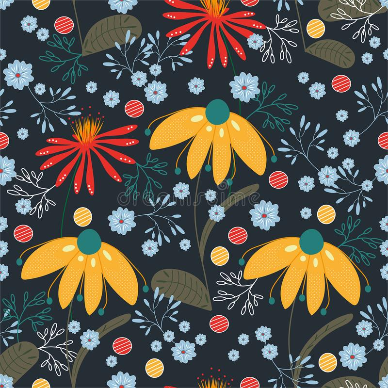Vektormodell med gula, röda, blåa, turkosblommor och sidor Textur bakgrund, tapet stock illustrationer