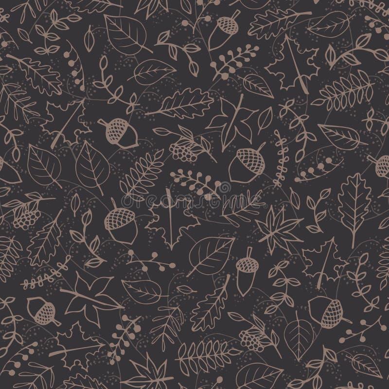 Vektormodell med höstbeståndsdelkonturer: brun lövverk, bär och ekollonar på den gråa bakgrunden royaltyfri illustrationer
