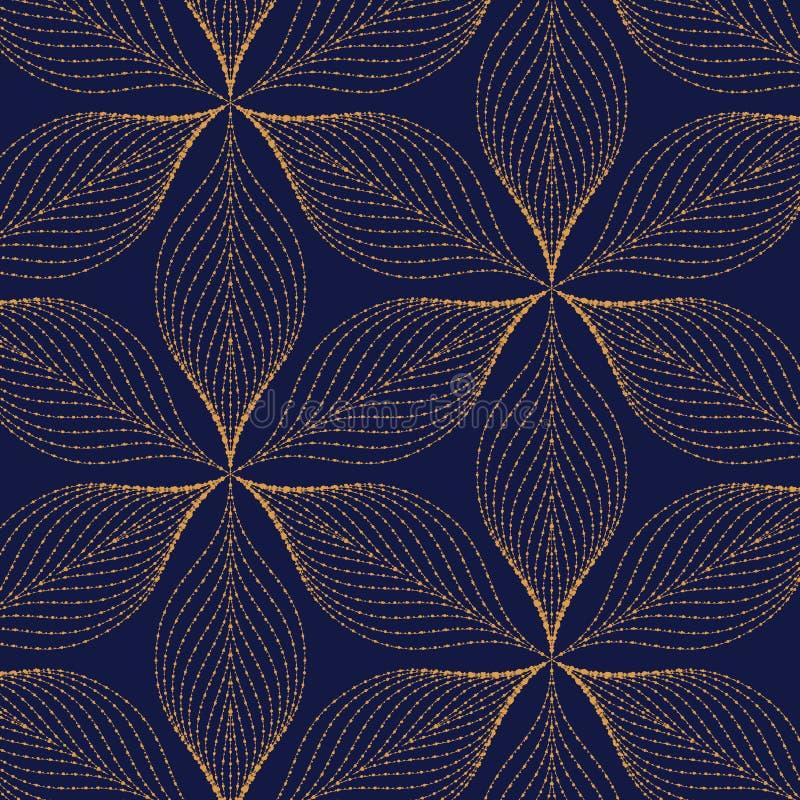Vektormodell som upprepar grungelinjen av den abstrakta blomman eller sidor vektor illustrationer