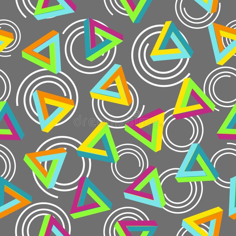 Vektormodell80-tal Geometrisk sömlös abstrakt bakgrund Retro Memphis Style 80-tal royaltyfri illustrationer