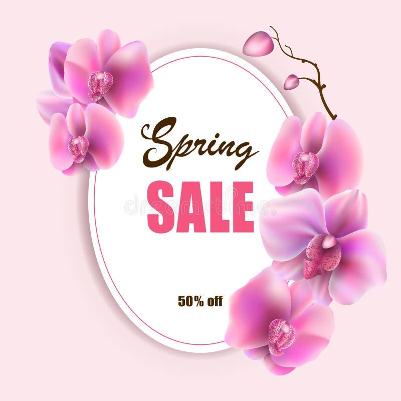 Vektormodellen av orkidér för den härliga våren för banret rosa blommar på bakgrund, den till salu reklambladet för orienteringen stock illustrationer