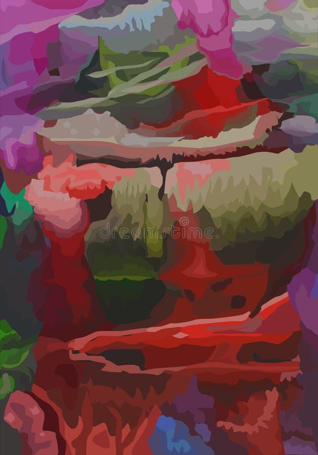 Vektormodern konst abstrakt bakgrundstextur Vinka färg för målarfärgakrylvatten, avant garde royaltyfri illustrationer