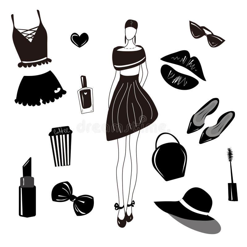 Vektormodesamling, uppsättning Flickor stilfull tillbehör, skönhetsmedel, kvinnamaterial Klänning påse, läppstift, sunglass, hatt royaltyfri illustrationer