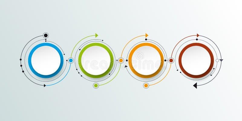 Vektormolekyl med etiketten för papper 3D, inbyggd cirkelbackgroud royaltyfri illustrationer