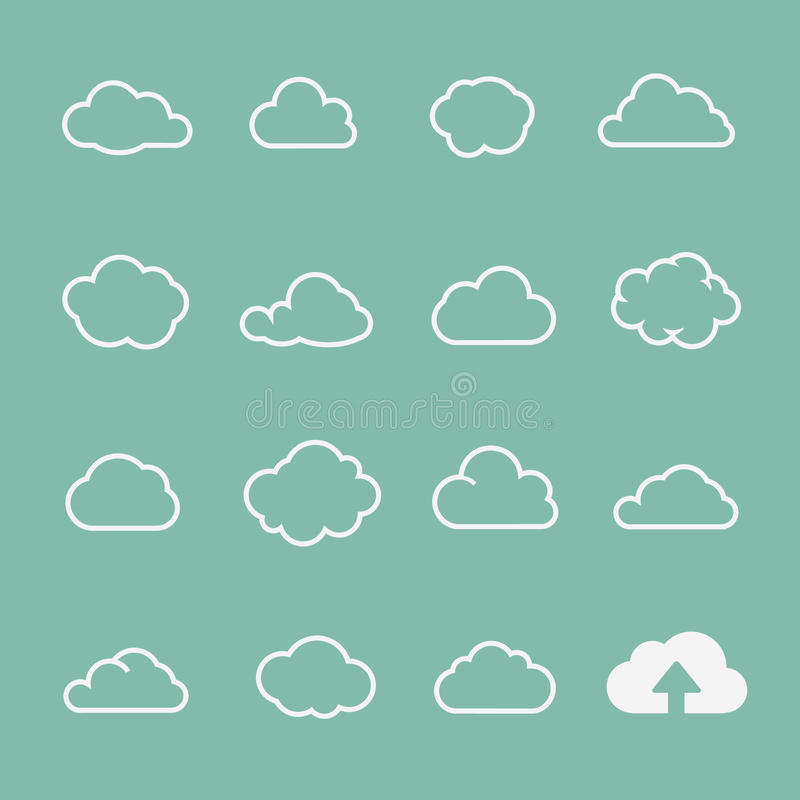 Vektormolnformer ställer in, fördunklar symboler för moln stock illustrationer