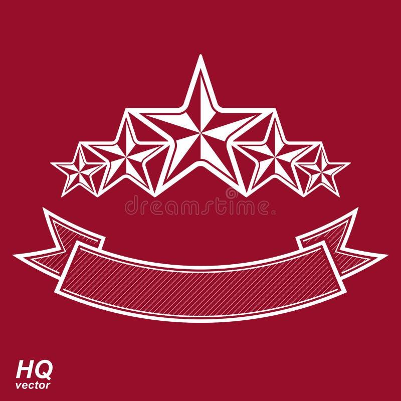 Vektormonarksymbol Festligt grafiskt emblem med pentagon fem stock illustrationer