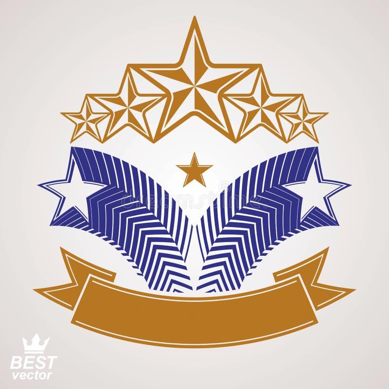 Vektormonarksymbol Festligt grafiskt emblem med pentagon fem vektor illustrationer