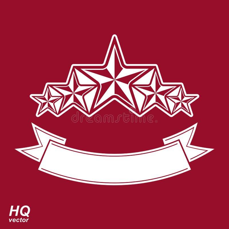 Vektormonarksymbol Festligt grafiskt emblem med pentagon fem royaltyfri illustrationer