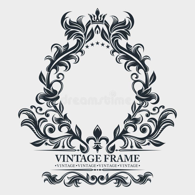 Vektormonogram Elegant emblemlogo Barock ram för tappning, gräns Blom- prydnad för bladsnirkel Inrista den retro blommamodellen royaltyfri illustrationer