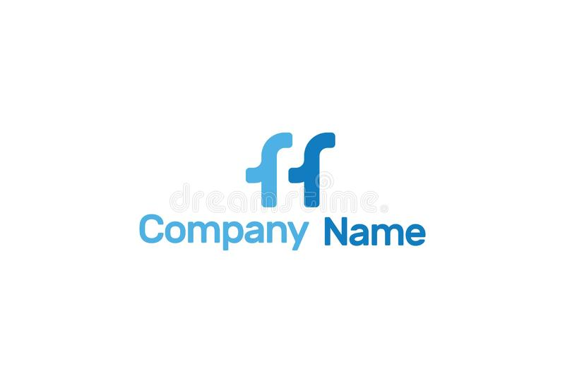 Vektormonogram FF Logo Design vektor illustrationer