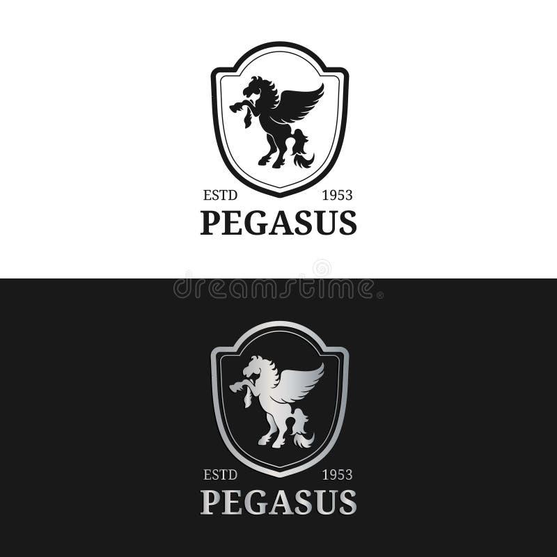 Vektormonogramm-Logoschablone Luxus-Pegasus-Design Würdevolles Weinlesetier Verwendet für Hotel, Restaurant, Butike usw. vektor abbildung