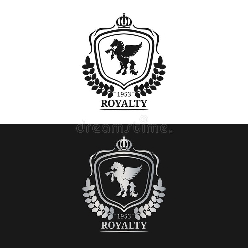 Vektormonogramm-Logoschablone Luxus-Pegasus-Design Würdevolles Weinlesetier Verwendet für Hotel, Restaurant, Butike usw. lizenzfreie abbildung