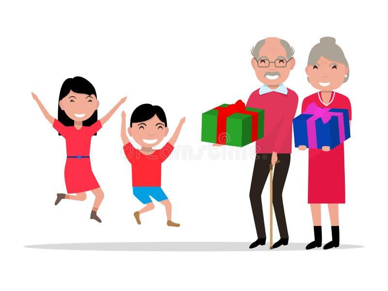 Vektormorföräldrar ger deras barnbarn gåvor vektor illustrationer