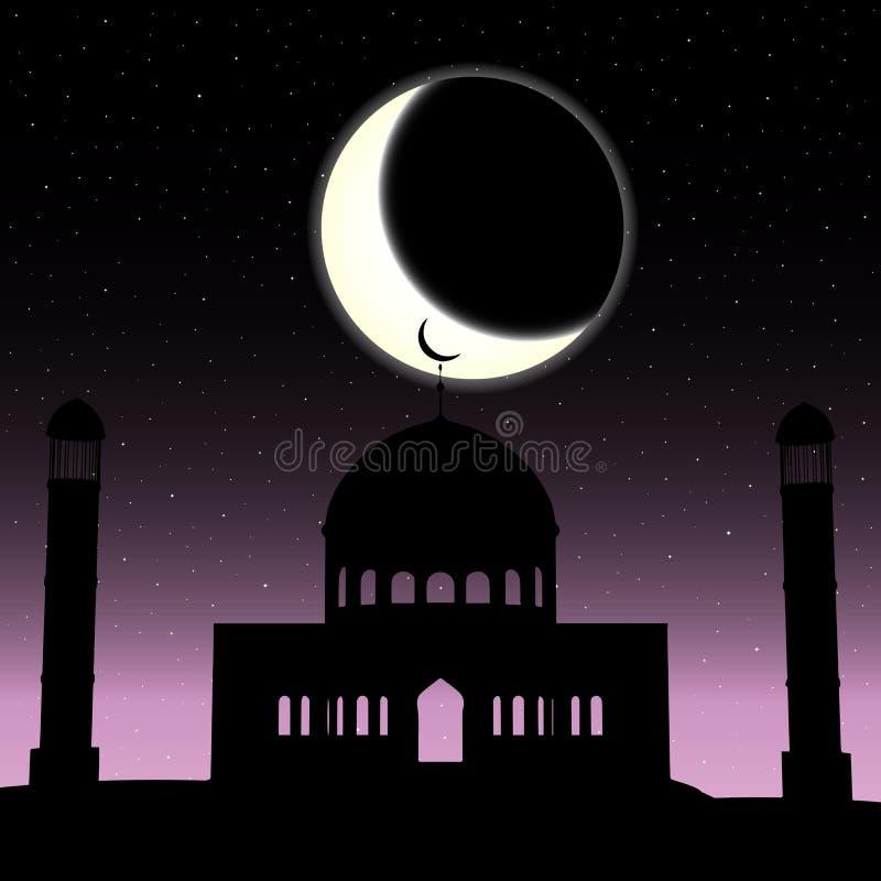 Vektormoskékontur i natthimmel med den växande månen och stjärnor stock illustrationer