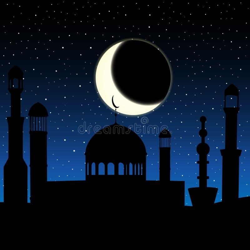 Vektormoskékontur i natthimmel med den växande månen och stjärnor vektor illustrationer