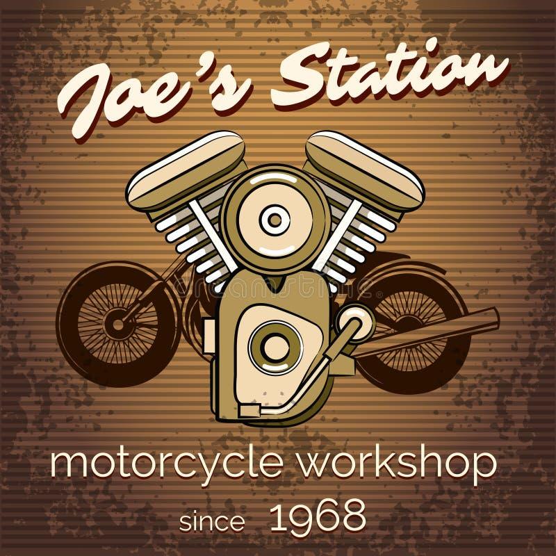 Vektormotorcykelreparationen shoppar affischen royaltyfri illustrationer