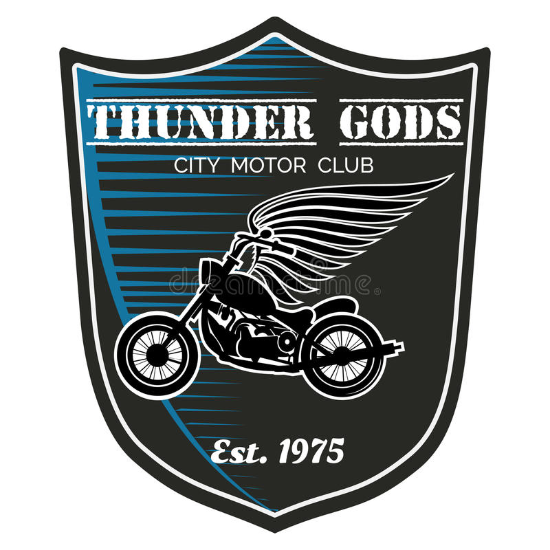Vektormotorrad-Clubaufkleber - Donner-Götter stock abbildung