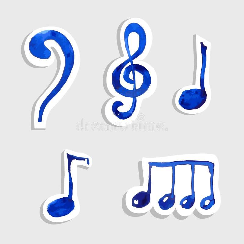 Vektormusik-Anmerkungsikone auf Aufklebersatz lizenzfreie abbildung