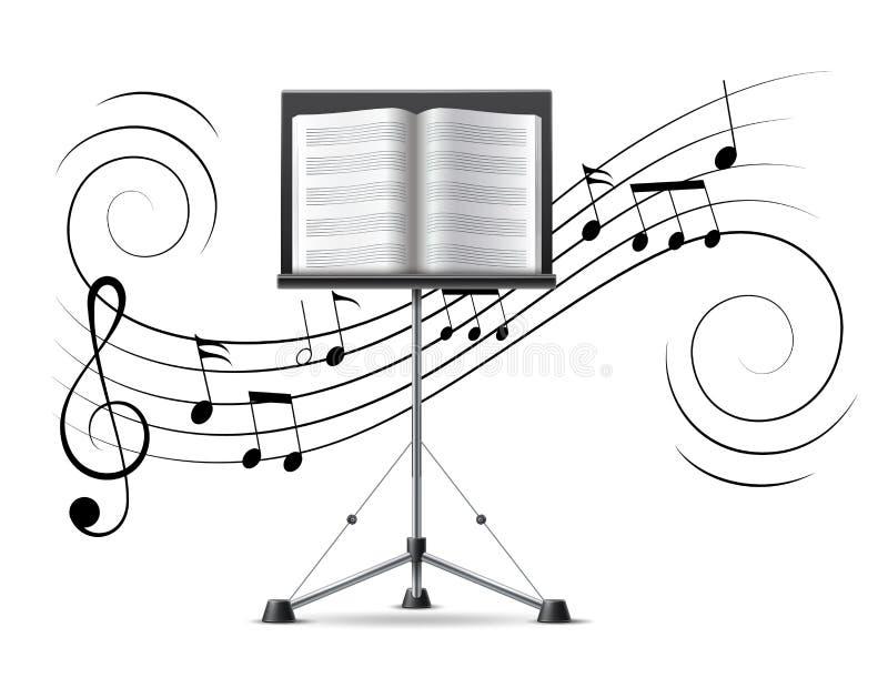 Vektormusik merkt Violinschlüsselfluß auf Musikpersonal stock abbildung