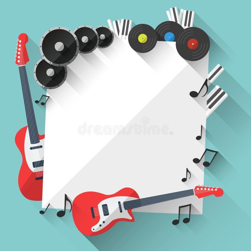 Vektormusikbakgrund i plan stildesign vektor illustrationer