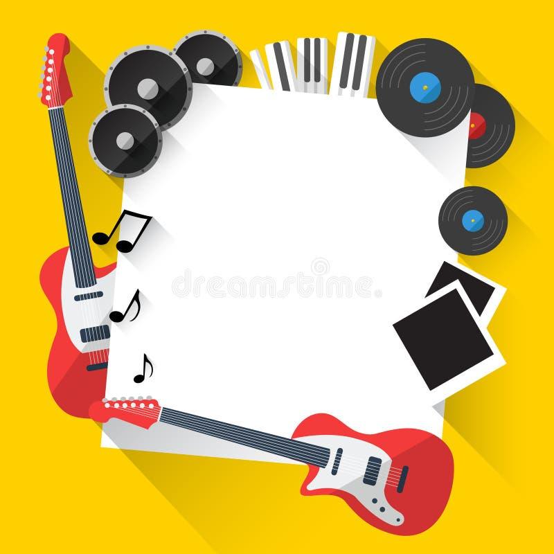 Vektormusikbakgrund i plan stildesign royaltyfri illustrationer
