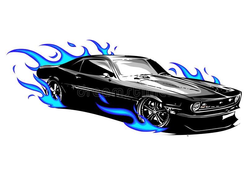 Vektormuskelauto mit verrücktem Rennen der Flammen lizenzfreie abbildung
