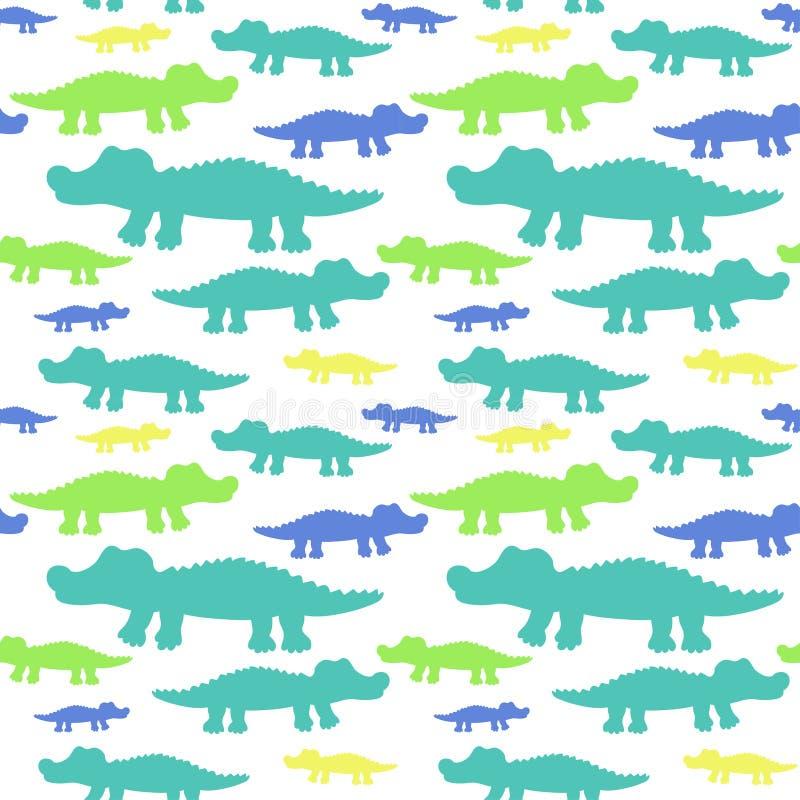 Vektormuster der netten Krokodile der Karikatur nahtloses vektor abbildung