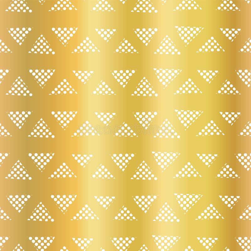 Vektormuster des geometrischen Dreiecks der Goldfolie nahtloses Dreiecklinien auf glänzendem goldenem Hintergrund Elegantes Desig lizenzfreie abbildung
