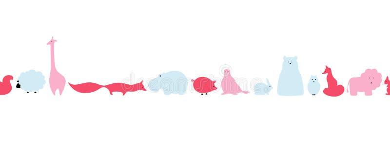 Vektormuster des nahtlosen Hintergrundes der flachen Tiere stock abbildung