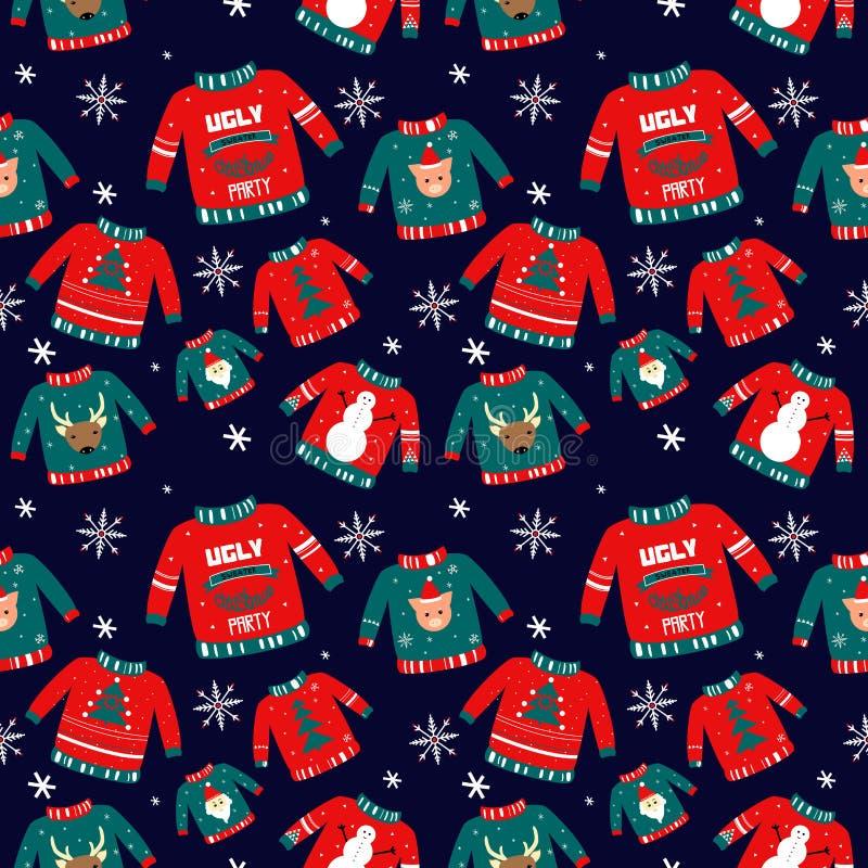 Vektormuster für Feiertagsereignisse als hässliche Weihnachtsstrickjackenpartei lizenzfreie abbildung