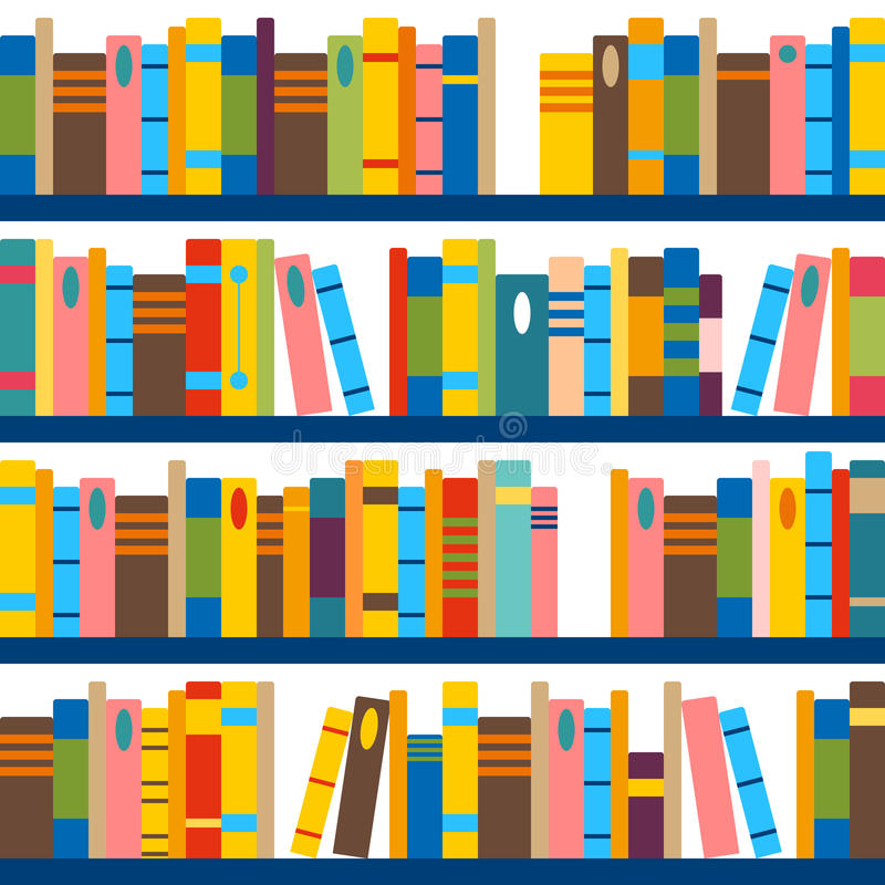 Vektormuster gemacht von den Büchern und von den Regalen Nahtloser Tilingsbibliothekshintergrund Abstraktes literarisches Konzept stock abbildung