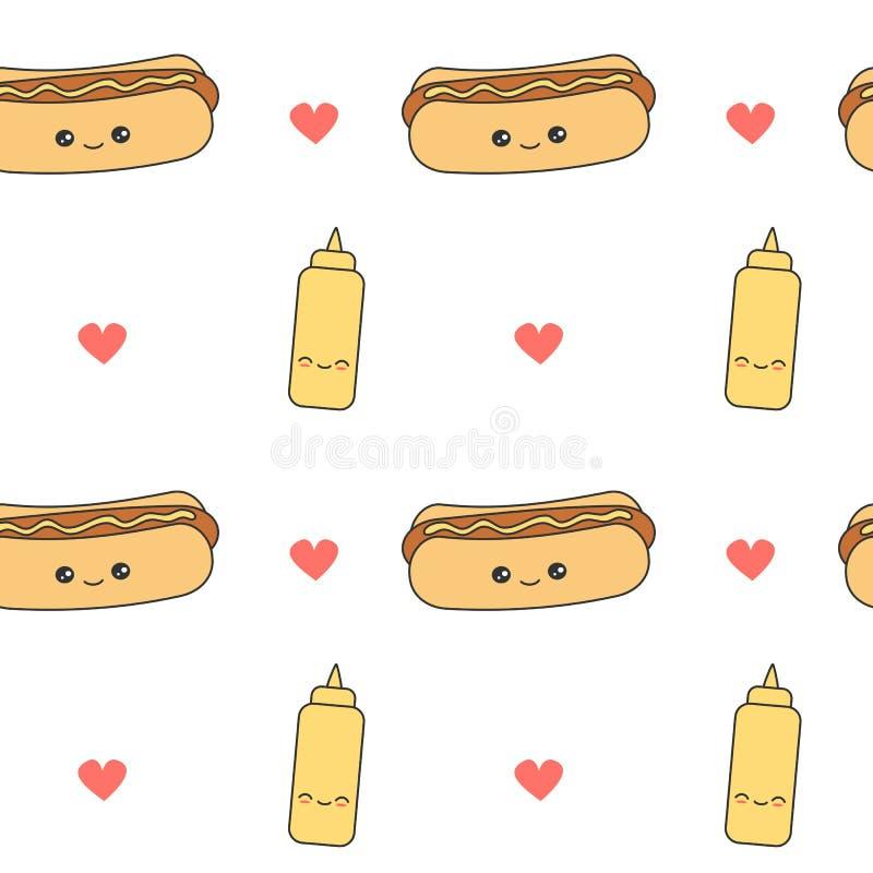 Vektormuster-Hintergrundillustration der netten Karikatur nahtlose mit Hotdog und Senf lizenzfreie abbildung