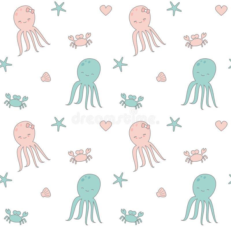 Vektormuster-Hintergrundillustration der netten Karikatur nahtlose mit Krake, Oberteil, Herzen, Krabbe und Starfish stock abbildung