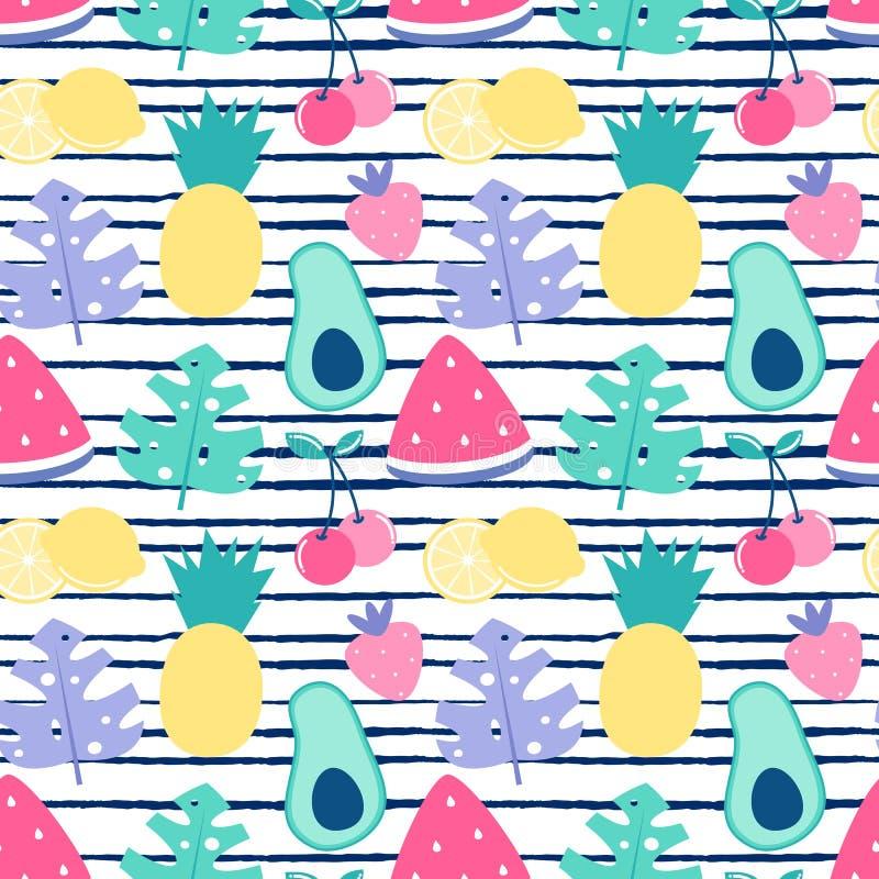 Vektormuster-Hintergrundillustration des bunten Sommers nahtlose mit Ananas, Avocados, Erdbeeren, Kirschen, Zitronen, waterme vektor abbildung