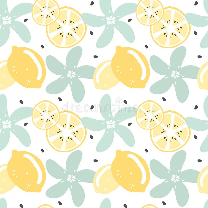 Vektormuster-Hintergrundillustration des netten modernen Sommers nahtlose mit Zitrone, Zitronenscheibe, Samen und Blumen lizenzfreie abbildung