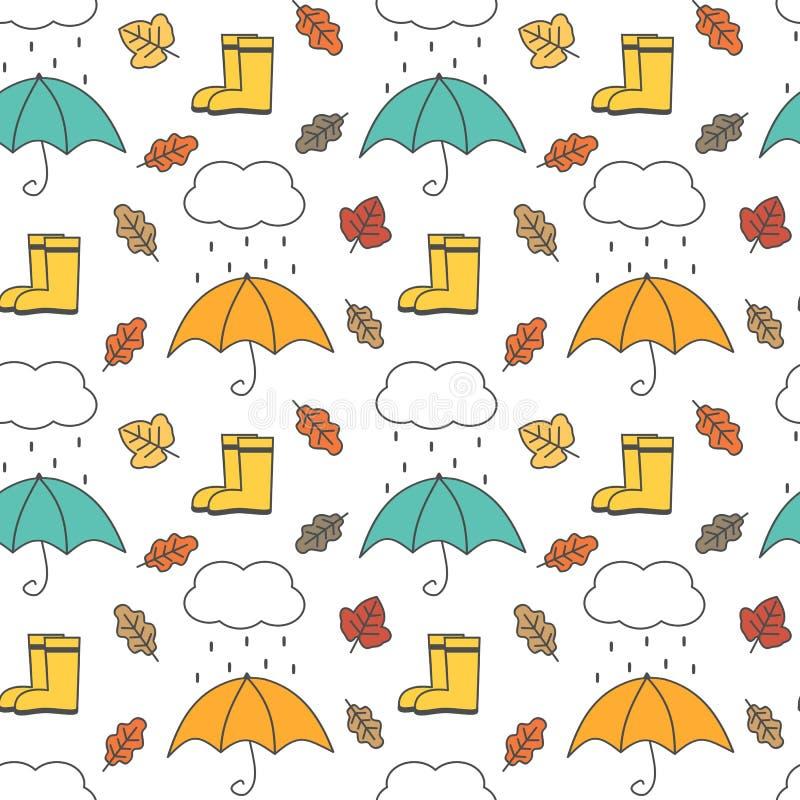Vektormuster-Hintergrundillustration des netten reizenden Herbstes nahtlose mit Regenschirmen, Regen, Wolken, Blättern und Stiefe stock abbildung
