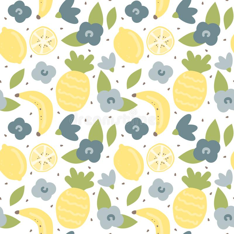 Vektormuster-Hintergrundillustration des netten reizenden Karikatursommers nahtlose mit Handgezogener Ananas, -zitrone, -banane u stock abbildung