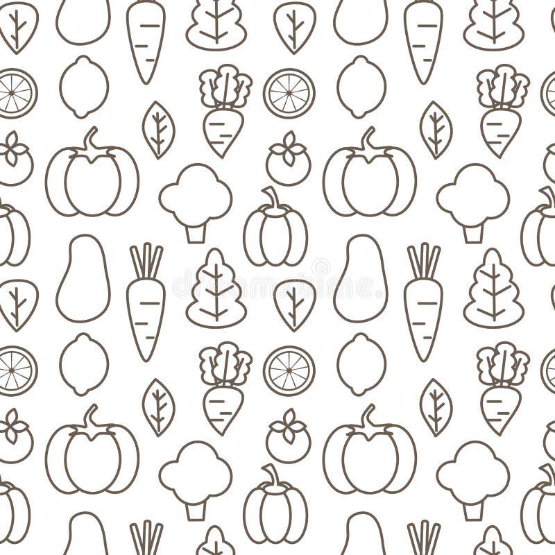 Vektormuster-Hintergrundschwarzweiss-illustration der netten Karikatur nahtlose mit Gemüse stock abbildung