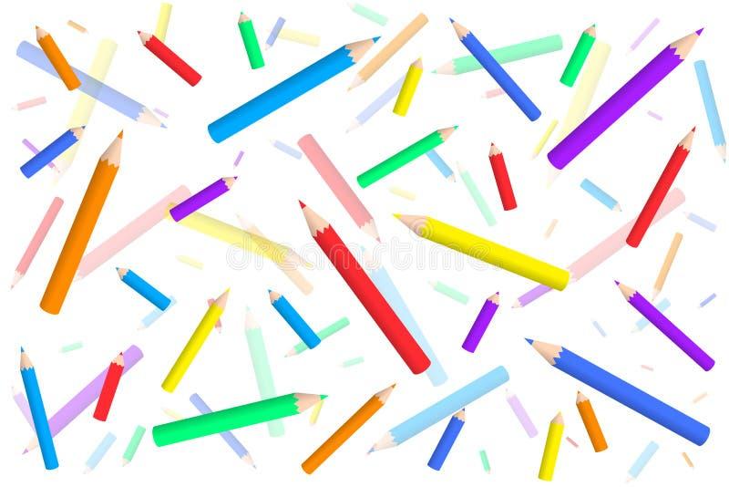 Vektormuster mit farbigen Bleistiften eine Verwirrung lizenzfreie abbildung