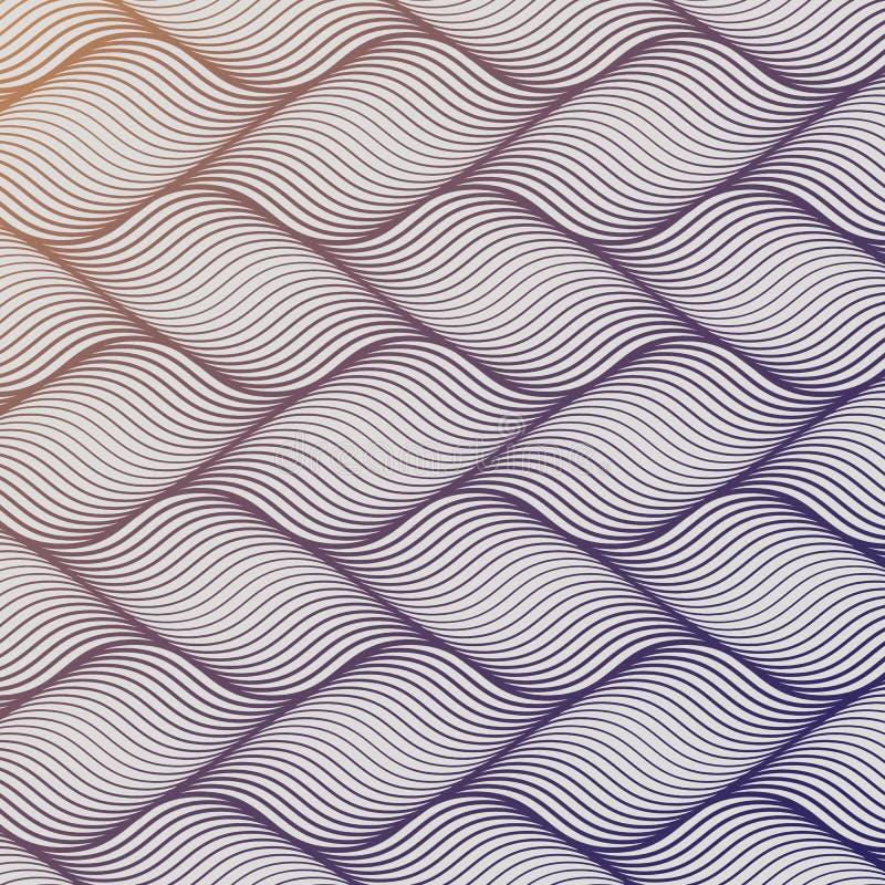 Vektormuster mit geometrischen Wellen Endlose stilvolle Beschaffenheit Plätschern Sie das einfarbige Hintergrundwiederholen linea lizenzfreie abbildung