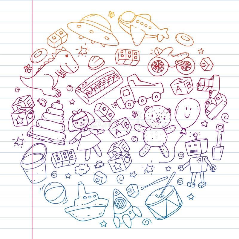Vektormuster mit Kindergarten, Spielzeugkinder Gl?ckliche Kinderillustration Steigungszeichnung auf Übungsnotizbuch vektor abbildung