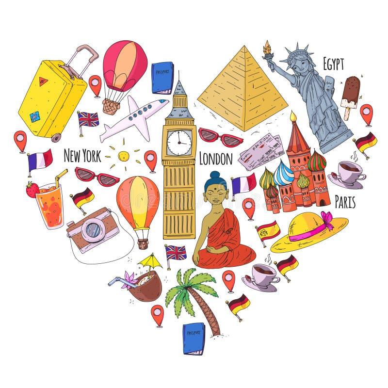 Vektormuster mit Reiseikonen Große Ferien, Feiertage Heißluftballon, Koffer Abenteuer und Reise stock abbildung